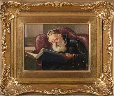 """Раввин, читающий Тору"". Картина Константина Шевченко (1915-1991),"