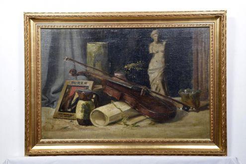 Антикварная викторианская картина