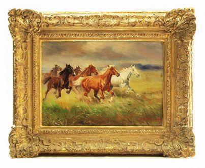 """Картина «Дикие кони в степи """"A. Шелоумов"""