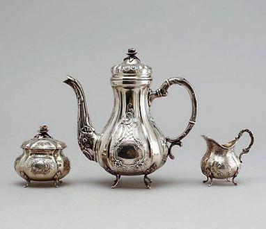 Кофейный сервиз, серебро