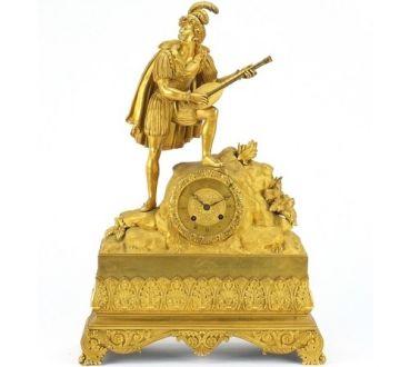 Kаминные  часы из позолоченной бронзы