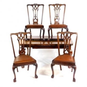 Galds un 4 krēsli, Chippandale stila