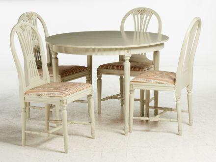 Galds un 4 krēsli, gustavianskstils