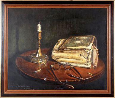 Натюрморт с книгой и свечой