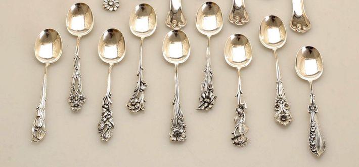 Набор из 9 серебряных кофейных ложечек